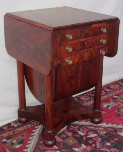 FEDERAL MAHOGANY SOW BELLY WORK TABLE ATTRIBUTED TO ISSAC VOSE - BOSTON MASS