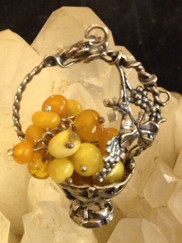 Antique/Vintage Asian Basket Pendant-Butterscotch Amber And Sterling!