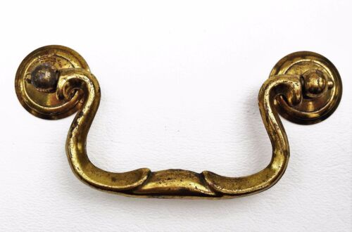 Chippendale Vintage Antique Hardware Drawer Pull Brass Swan Neck 3 1/2' centers