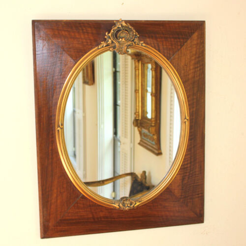Antique French wood and gold gesso mirror, style of Louis XV
