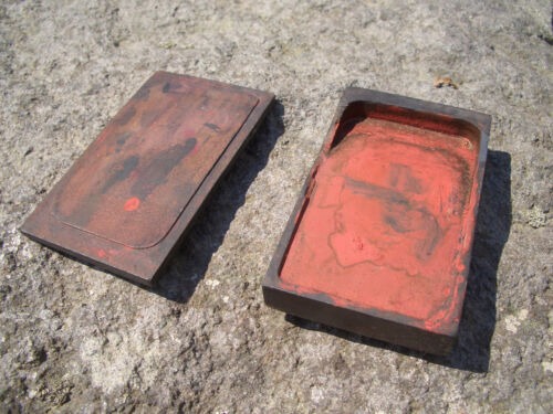 Japan antique Ink stone so small wooden cover with red ink used inkstone #4131