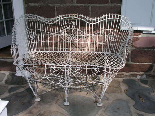 Antique Victorian 1800's Garden Iron Wire Bench Heart Back FREE SHIPPING 100 mil