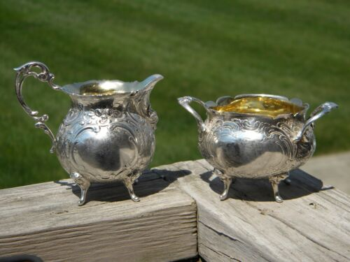 1952 Swedish .830 Silver Footed Sugar Bowl & Cream Pitcher With Gold Wash