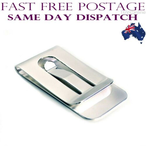 Solid Stainless Steel Money Clip Silver High Polished Simple Classic In Sydney