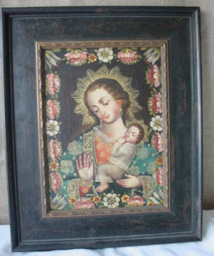 Santo Religous Carved Wood Gilded Frame w/ Madonna Cuzco Oil Painting