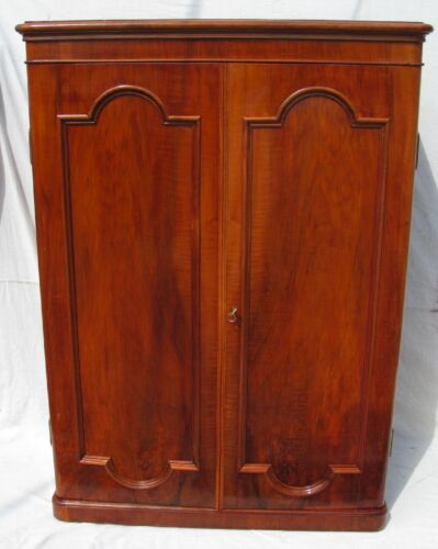 19TH C ANTIQUE VICTORIAN ROSEWOOD OVER SOLID YEW WOOD GENTLEMAN'S WARDROBE