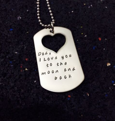 personalised hand stamped stainless steel heart cut out dog tag on 60cm chain