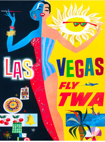 Las Vegas Nevada by Airplane United States Travel Advertisement Art Poster