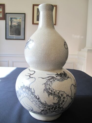 Very Rare Early 20th Century Korean Blue & White Dragon Large Double Gourd Vase