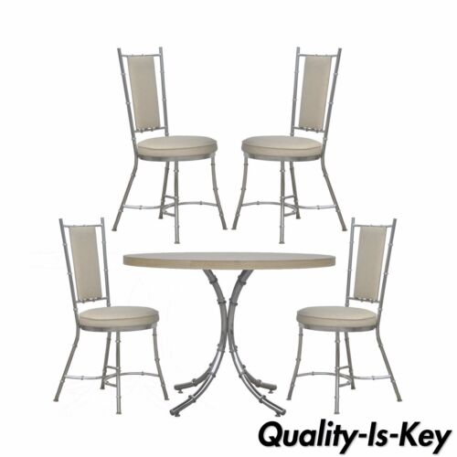 Vintage Hollywood Regency Modern Chrome Faux Bamboo Dining Set Table 4 Chairs