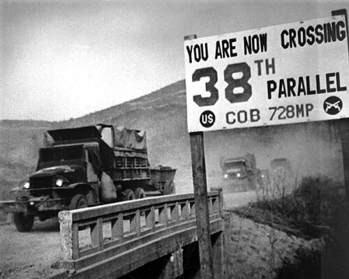 New 8x10 Korean War Photo: U.N. Forces Cross the 38th Parallel in Retreat, 1950