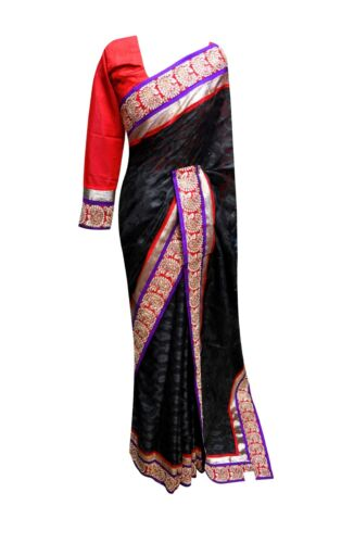 Black & Red border Indian designer Net sarees Evening Bollywood Party wear 7087