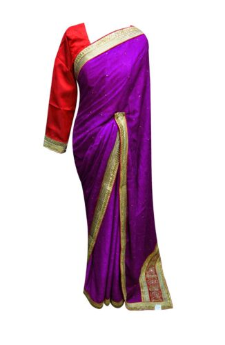 Womens elegat Indian Crepe saree contrast blouse Bollywood wedding outfit 7090