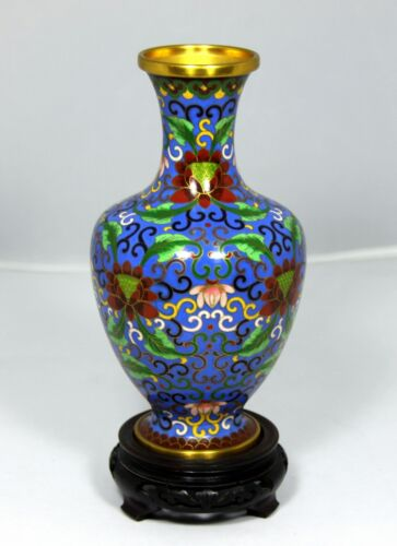 """(9.25"""" HIGH)  Cloisonne Vase """"Imperial Pattern"""" Exquisite!  w Hand Carved Stand"""