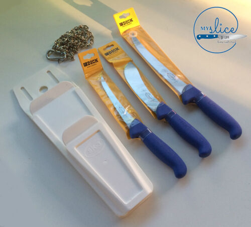 F Dick Pro Butcher 3 Piece Knife Set, Mars Pouch & Stainless ChainKnives - 42574
