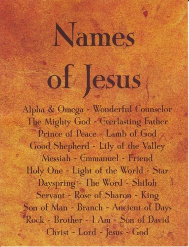 "Christian Poster NAMES OF JESUS Art Print, Bible Scripture Verse, 8.5""x11"""