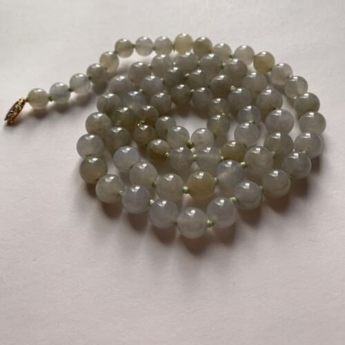 antique 26 inch necklace JADEITE / jade ICE WHITE translucent w/14k RE-STRUNG!