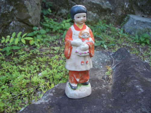 Japanese antique cramic clay doll a girl put on an epron holding baby doll #1062