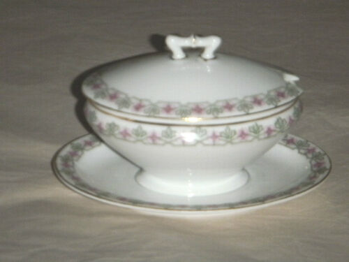 "M Z MORITZ ZDEKAUER AUSTRIA 4"" COVERED CONDIMENT BOWL PINK DAMES ROCKET PATTERN"