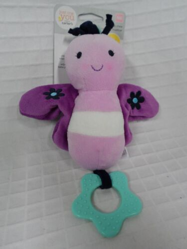 NEW Baby CARTER'S Just One You Purple Butterfly Chime &Chew teether hang toy