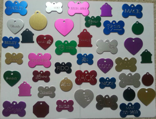 CUSTOM ENGRAVED DOG PET TAG DOUBLE SIDED PERSONALIZED ID DOG CAT CHARM TAGS <br/> FREE SHIPPING TAGS STARTING @.99 Cents BUY 3 get 1 FREE