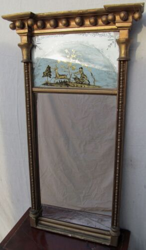 RARE 19TH CENT FEDERAL EGLOMISE PIER MIRROR W/HUNTING SCENE-SUPERIOR SPECIMEN