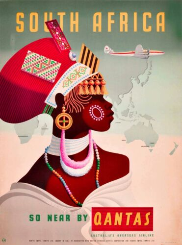 South Africa So Near By Qantas Vintage Travel Advertisement Art Poster