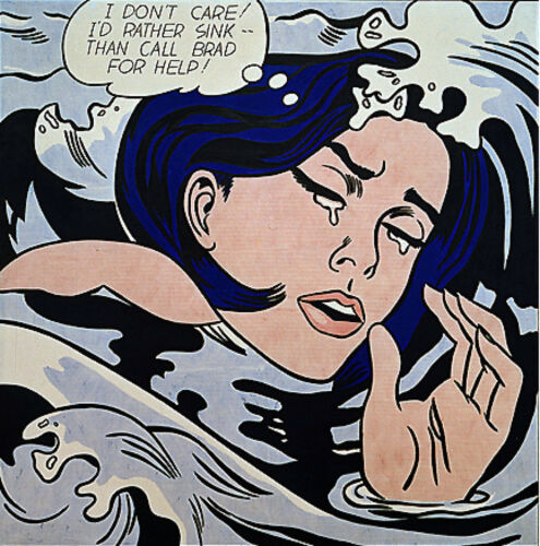 """Roy Lichtenstein  Large vintage  Canvas  24""""  art print painting drowning woman"""