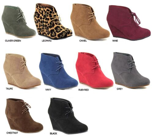 New Womens Suede Round Toe Lace Up Booties Shoes High Heels Wedge Ankle Boots