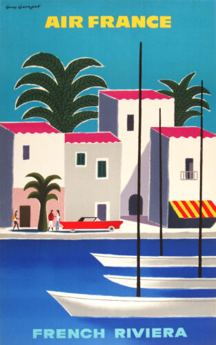 """air france vintage poster art print FRENCH RIVIERA for glass frames 36"""" x 24"""""""