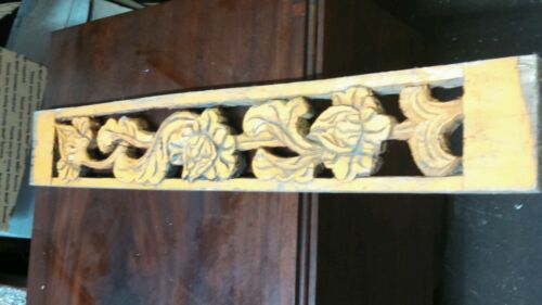 OLD ORANGE PAINT PIERCED CARVED rose buds FLOWERS WOOD PC.