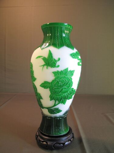 Very Fine Large Early 1900 Chinese Green Peking Glass Vase Phoenix Butterfly 12""