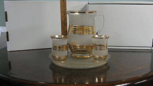 Vintage Czech Glass Pitcher, Two Glasses and Tray Set (Perfect Condition)