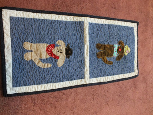 Collectible Handmade Sewn Quilted Table Linen Blues Puppy Applique CUTE