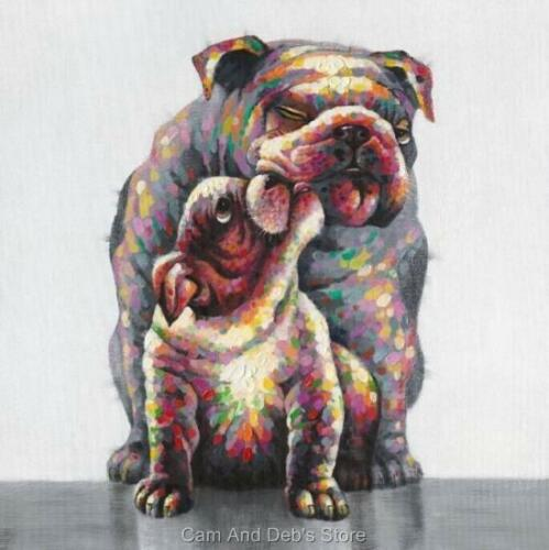 Bulldog Stretched Canvas Dog Print Picture Wall Art 80 cm