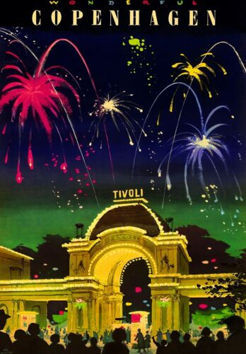 Copenhagen Denmark Tivoli Gardens Scandinavia Travel Advertisement Art Poster