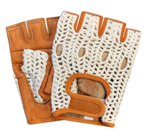 Leather Fingerless Unisex Weight Training Cycling Driving Wheelchair Gloves