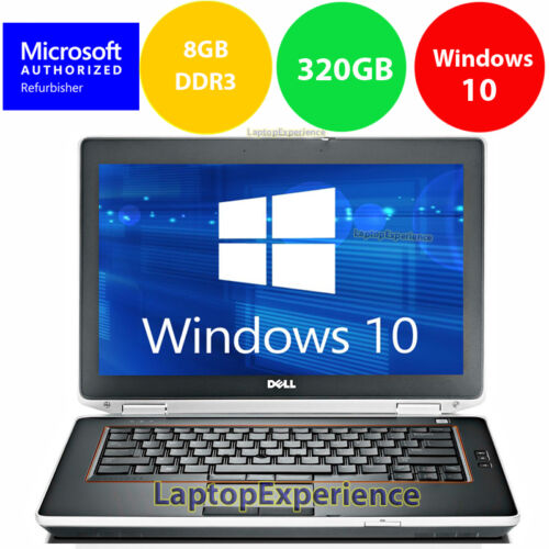 "DELL LAPTOP LATITUDE E6420 2.5ghz 8GB 320GB 14"" DVD WINDOWS 10 WIN WiFi HDMI PC"