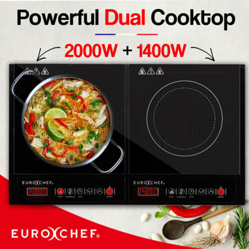 EuroChef Electric Induction Cooktop Portable Kitchen Ceramic Cooker Cook top Hob <br/> Fast, Safe & Energy Efficient + 1 Year Warranty