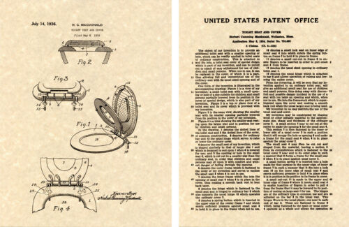 Toilet Seat Cover US Patent Art Print READY TO FRAME!! Vintage 1936 Flip
