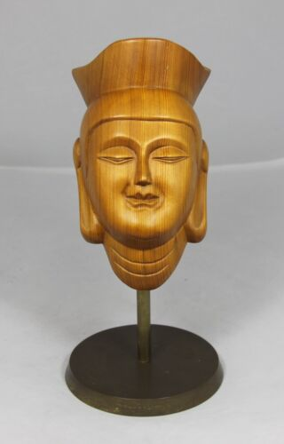 """""""Hand Carved Wooden Chinese Face"""" Mounted on a Brass Base"""