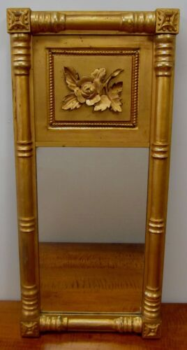 SHERATON GOLD GILT WOOD MIRROR WITH LARGE CARVED ROSE ON VINE CIRCA 1790 - 1810