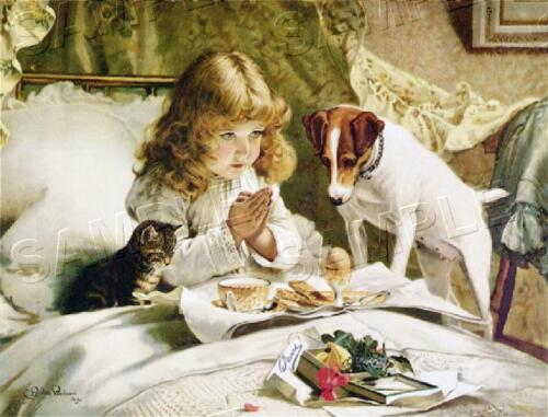 "VINTAGE Victorian ANTIQUE ""Suspense"" JACK RUSSEL Child PRAY *CANVAS* Art PRINT"
