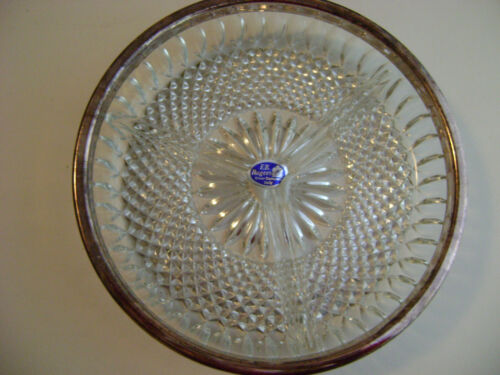 F.B.ROGERS SILVER COMPANY, CRYSTAL CANDY DISH 3 SECTIONS MADE IN ITALY