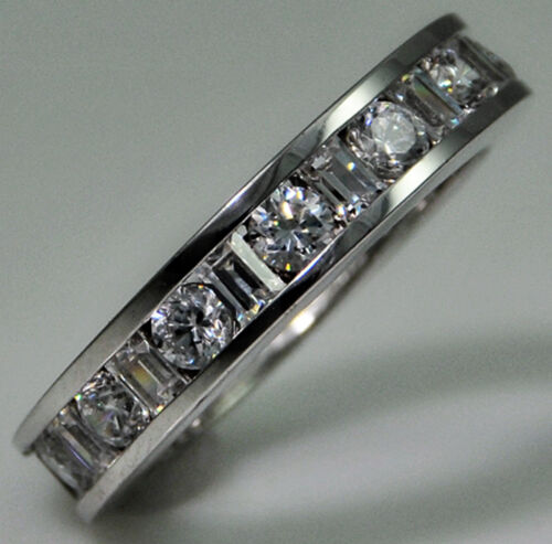 4 ct tw Eternity Ring Simulant Imitation Moissanite Sterling Silver Size 5