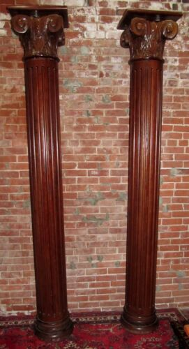 PAIR OF CLASSICAL STYLE OAK COLUMNS WITH CORINTHIAN CAPITALS - OVER 8 FEET TALL