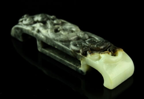 HAN DYNASTY- BLACK AND WHITE JADE SCABBARD BUCKLE SUI