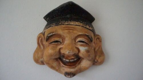 Very Fine Japanese Meiji Period Polychrome Mud Clay Mask Man with Black Hat