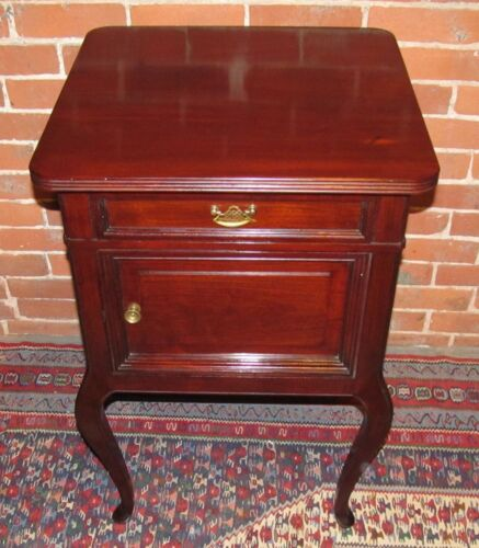 VICTORIAN QUEEN ANNE STYLE MAHOGANY ANTIQUE NIGHTSTAND / END TABLE