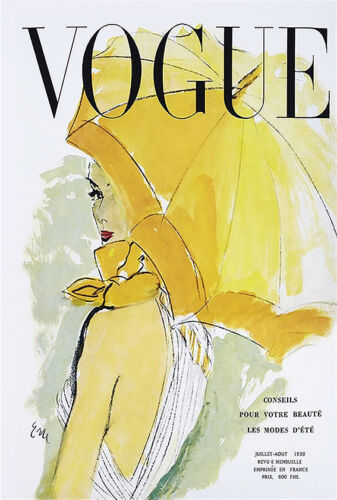 print french art vogue cover 1950's umbrella yellow poster for glass frame 36""